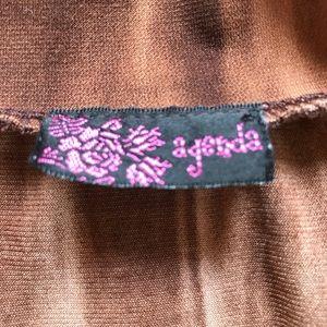Agenda Tops - Agenda Women's Brown Blouse  Size L